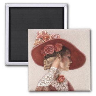 Chapeau rose de cru victorien élégant de Madame be Magnets Pour Réfrigérateur