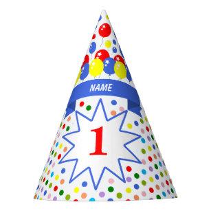 Chapeaux De Fètes Anniversaire coloré personnalisé de point de pol