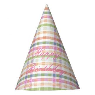 Chapeaux De Fètes Casquette rose de partie de papier de plaid