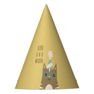 Chapeaux De Fètes Chat tigré avec l'anniversaire en verre