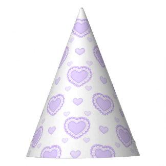 Chapeaux De Fètes Coeurs lilas et blancs romantiques