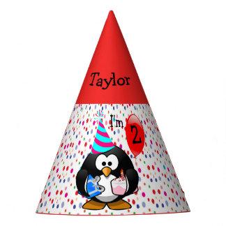 Chapeaux De Fètes Fête d'anniversaire personnalisée de pingouin de