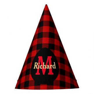 Chapeaux De Fètes Monogramme et nom rouges et noirs de plaid