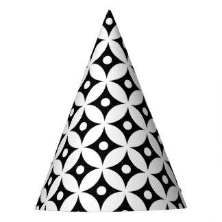 Chapeaux De Fètes Motif de pois noir et blanc moderne de cercle