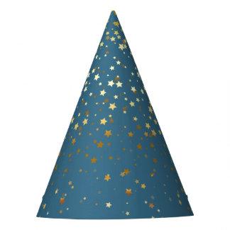 Chapeaux De Fètes Petite partie d'or Casquette-Teal d'étoiles