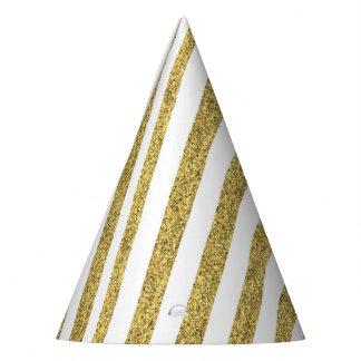 Chapeaux De Fètes Rayures de parties scintillantes d'or