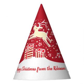 Chapeaux De Fètes Renne de Noël au-dessus de casquette nommé rouge