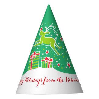 Chapeaux De Fètes Renne de Noël au-dessus du vert de cadeaux