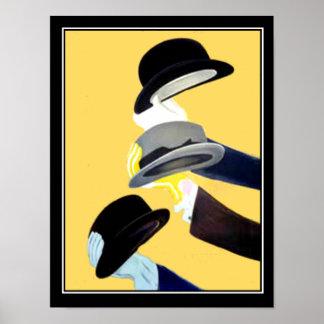 Chapeaux français du poster vintage 3 d'art déco