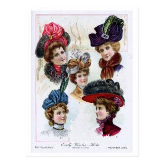Chapeaux tôt de l'hiver des dames vintages à cartes postales