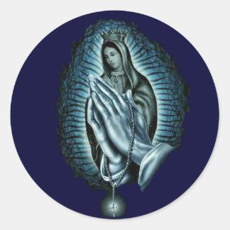 Chapelet béni de prière de Vierge Marie Sticker Rond