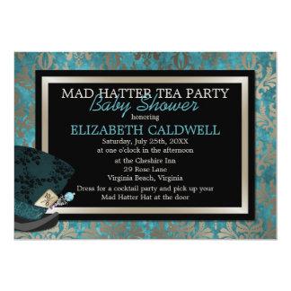 Chapelier fou Alice dans la douche nuptiale du Carton D'invitation 12,7 Cm X 17,78 Cm
