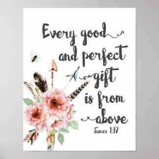 Chaque bon et parfait cadeau est d'en haut poster