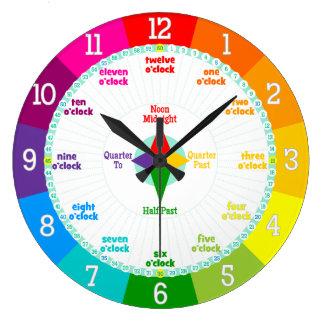 Chaque seconde compte des couleurs d'arc-en-ciel grande horloge ronde