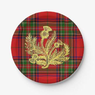 Chardon écossais d'or sur le plaid assiettes en papier