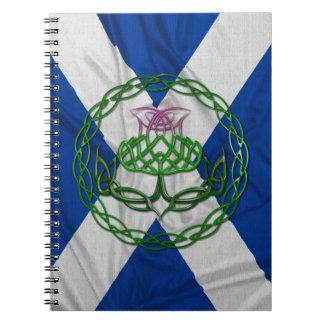 Chardon et drapeau celtiques de noeud carnet à spirale
