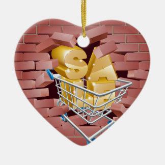 Chariot à vente cassant le mur ornement cœur en céramique
