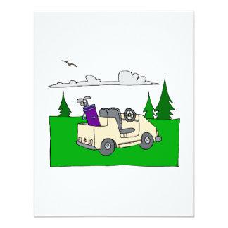 Chariot de golf carton d'invitation 10,79 cm x 13,97 cm