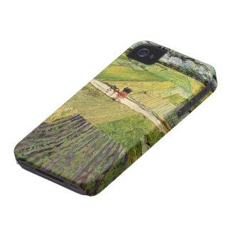 Chariot de paysage de Van Gogh et train, Coque Case-Mate iPhone 4