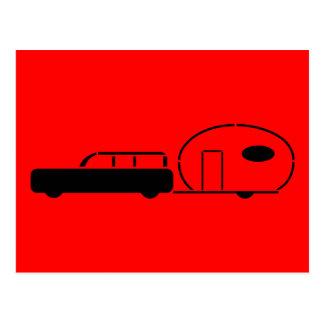 Chariot de station vintage et remorque de rv carte postale