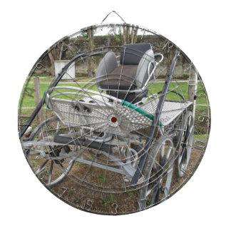 Chariot démodé de cheval sur l'herbe verte jeu de fléchettes