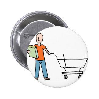 Chariot d'épicerie d'étiquette d'emballage de pin's