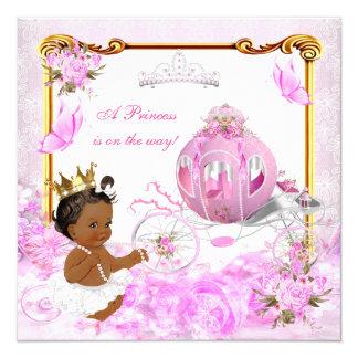 Chariot d'or de rose de princesse baby shower carton d'invitation  13,33 cm