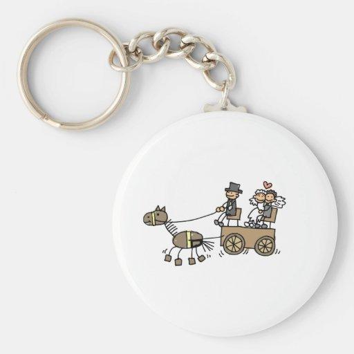 Chariot hippomobile pour des mariages porte-clef