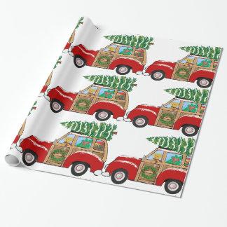 Chariot vintage de Woody de Noël apportant à la Papiers Cadeaux Noël