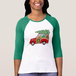 Chariot vintage de Woody de Noël apportant à la T-shirt
