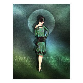 Charla - mode des années 1920 en sauge, vert et carte postale