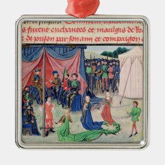 Charlemagne et ses barons étant enchantés ornement carré argenté