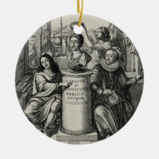 Charles II (1630-85) comme patron du Societ royal Ornement Rond En Céramique
