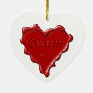 Charles. Joint rouge de cire de coeur avec Charles Ornement Cœur En Céramique