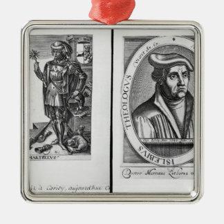 Charles Martel et Martin Luther Ornement Carré Argenté