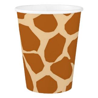 Charme animal de jungle d'arrière - plan de girafe gobelets en papier