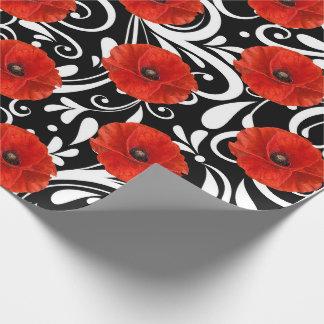 Charme blanc de noir rouge de fleur de pavot papier cadeau