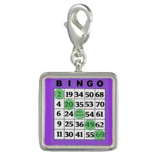 Charme chanceux de carte pourpre de BINGO-TEST Breloque Avec Photo
