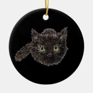 Charme chanceux de chat noir ornement rond en céramique