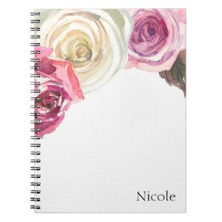 Charme floral chic de rose de roses d'aquarelle et carnets à spirale
