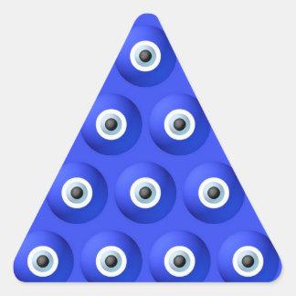 Charmes de bonne chance contre le motif d'oeil sticker triangulaire