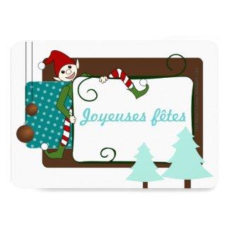 Carte de joyeuses fêtes lutin rigolo et sapin faire-parts