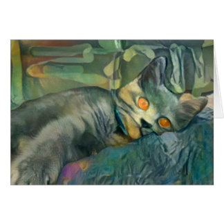 Chartreux somnolent carte de vœux