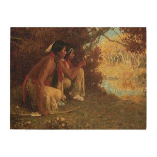 Chassant pour des cerfs communs par Couse Natif Impressions Sur Bois
