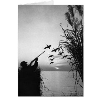 Chasse de canard d'homme carte de vœux