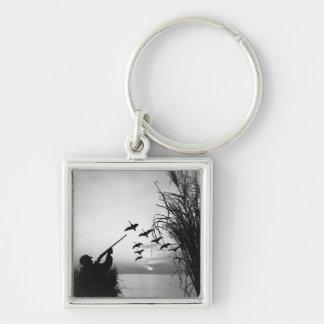 Chasse de canard d'homme porte-clé carré argenté