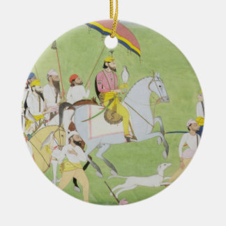 Chasses de Dhian Singh de raja 1796-1840) (avec le Ornement Rond En Céramique