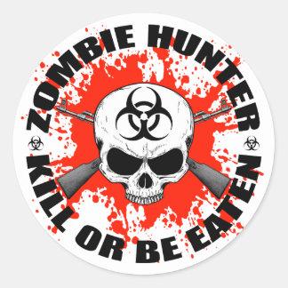 Chasseur 1 de zombi sticker rond
