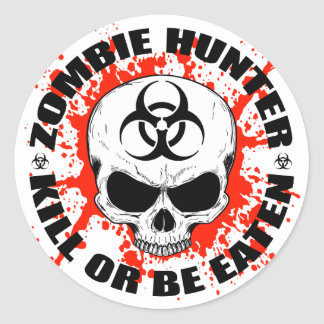 Chasseur 3 de zombi sticker rond