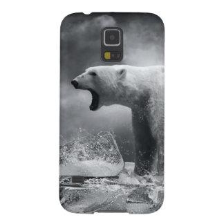 Chasseur blanc d'ours blanc sur la glace dans coque galaxy s5
